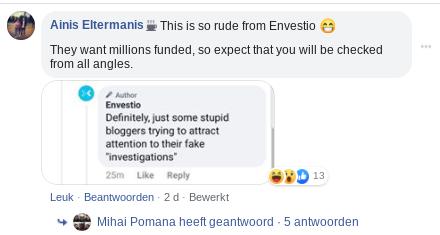 Envestio reageert op Facebook