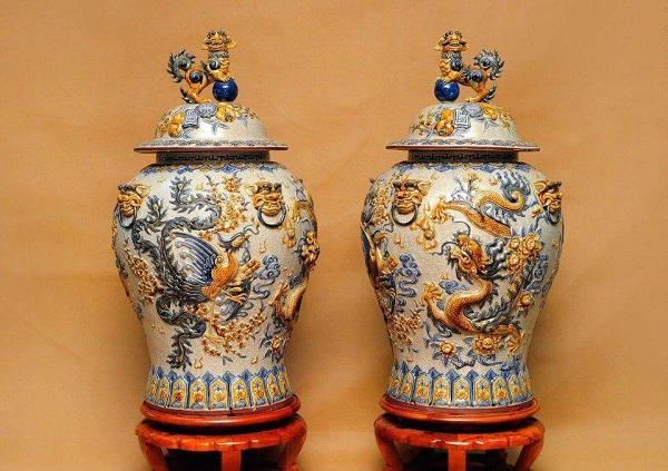 Dragon, Unicorn, Turtle, and Phoenix on Bat Trang ceramics