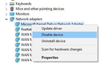 disable Microsoft Kernel Debug Network Adapter