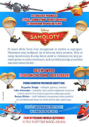 Tył ulotki filmu 'Samoloty 2'
