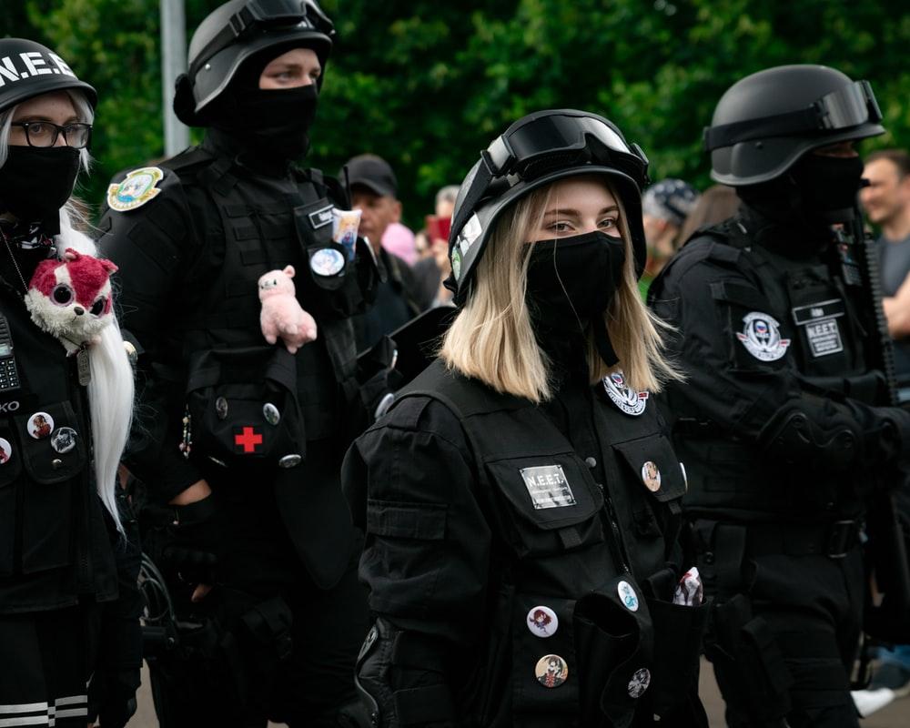 woman in black uniform