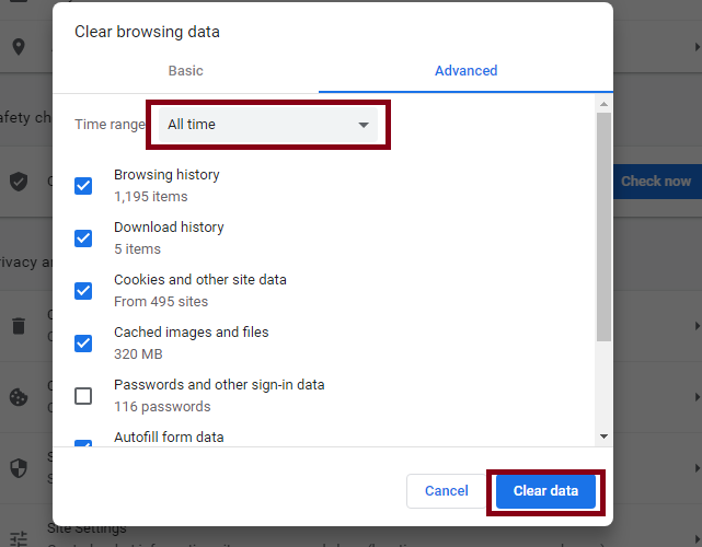Clear Cache files to fix You Can't Join this Video Call on Google Meet