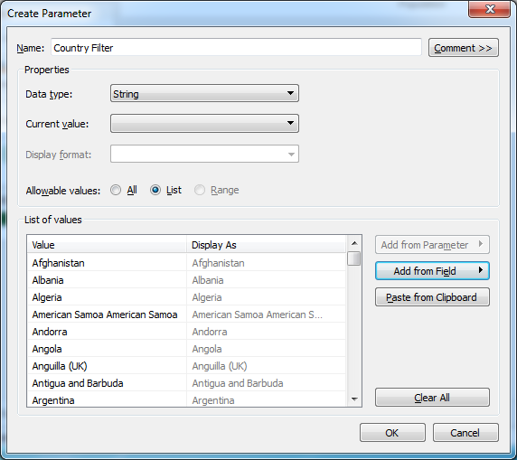 Tableau Create Parameter Country Filter
