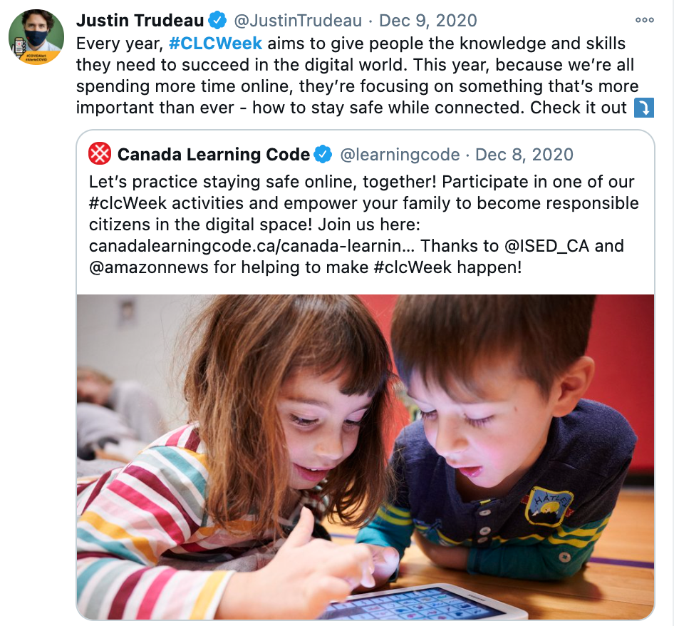 "Screenshot of CLC tweet by Justin Trudeau, saying: ""Every year, #CLCWeek aims to give people the knowledge and skills they need to succeed in the digital world. This year, because we're all spending more time online, they're focusing on. something that's more important. than ever - how to stay safe while connected. Check it out."""