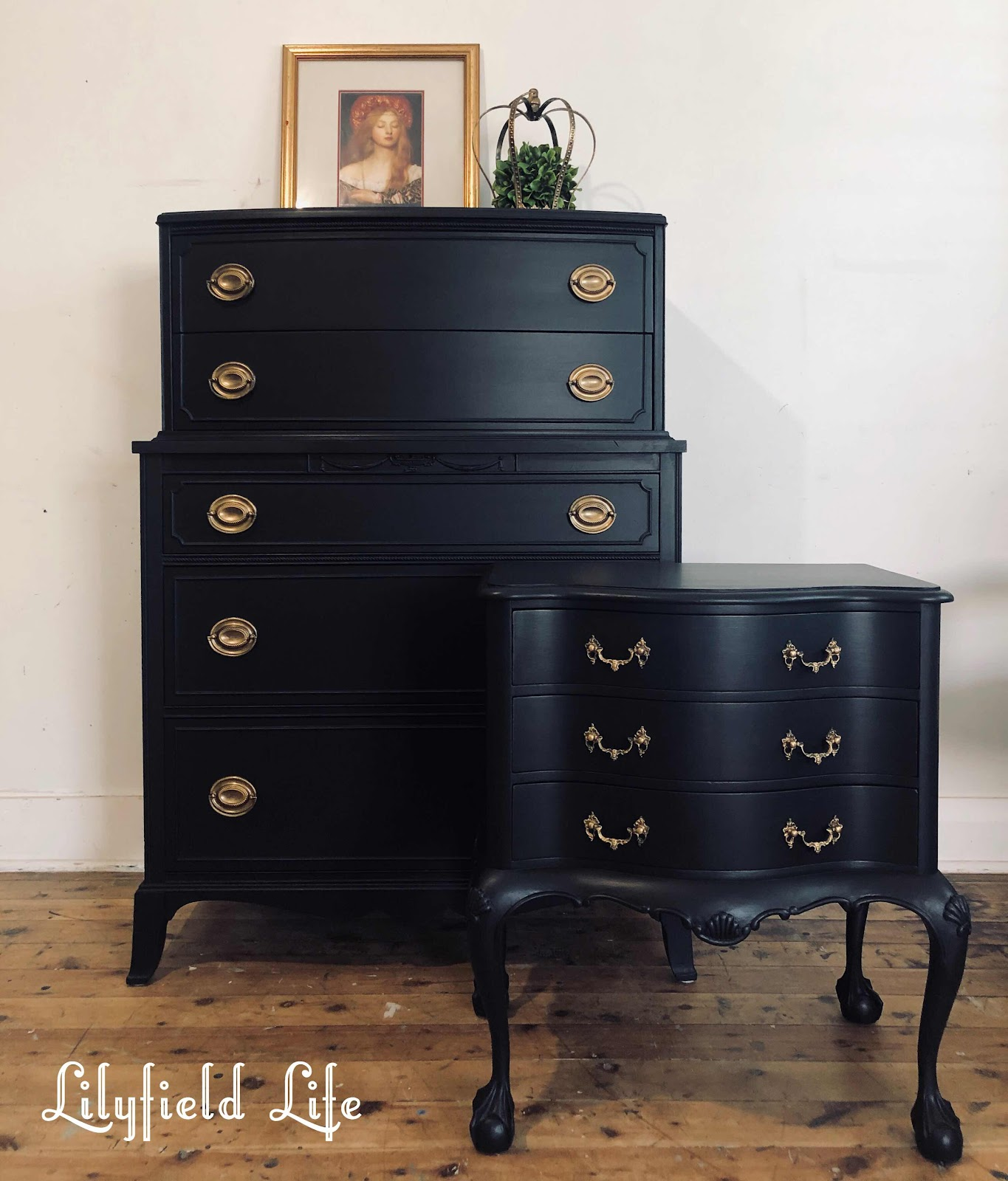 lilyfield life black American bow drawers chalk paint