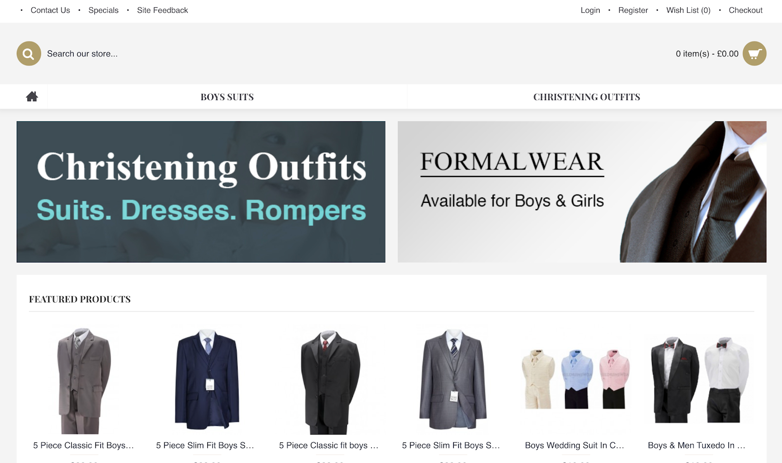 Children's Wear landing page