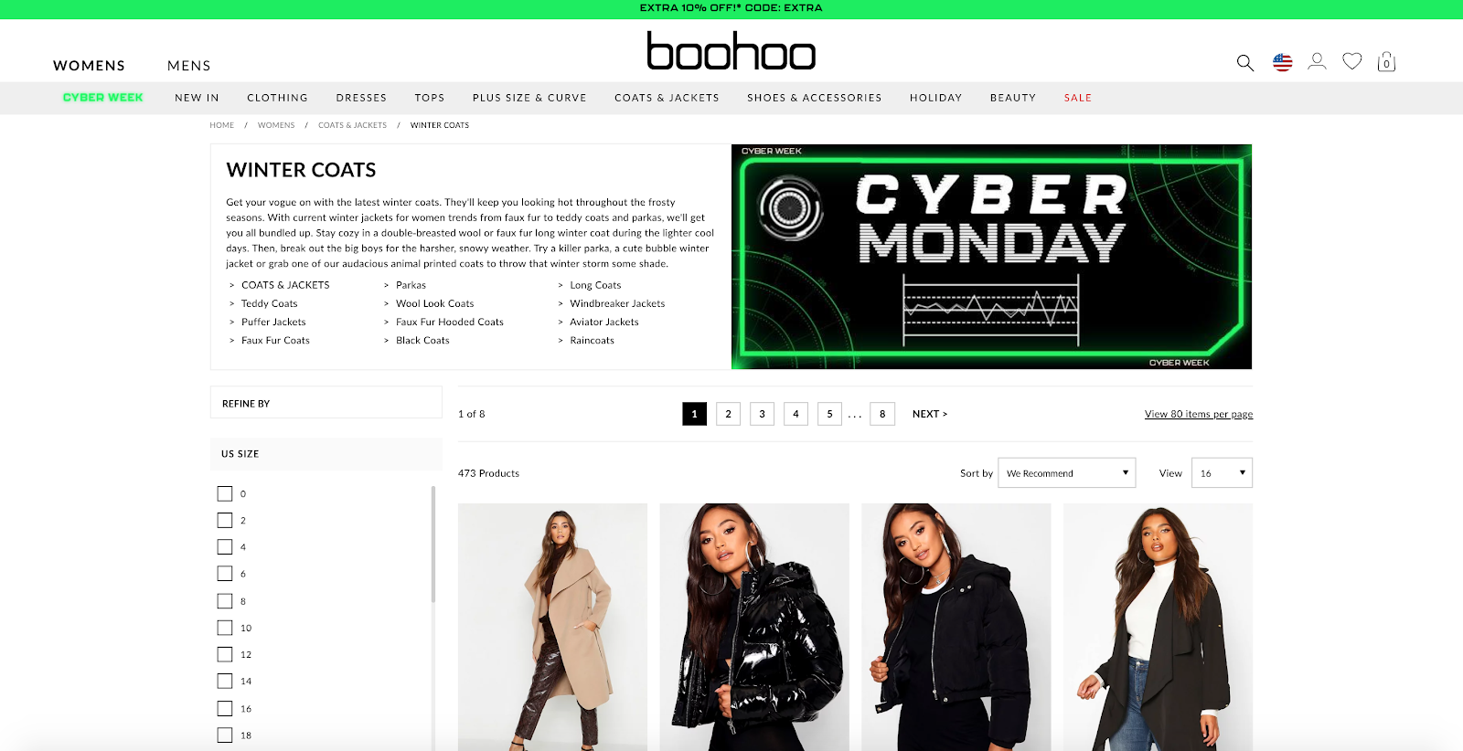 boohoo product listing page