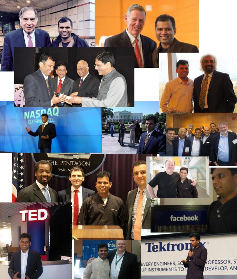 Sunil Khandbahale with Ratan Tata, Alan Mulally, Sam Pitroda, at Nasdaq, White House, Pentagon, and TED