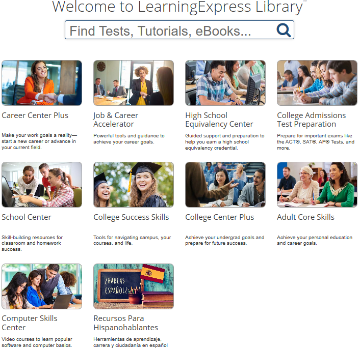 LearningExpress Home Screen