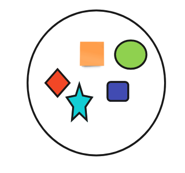 A circle containing five shapes fully colored in, a red diamond, a teal star, an orange square, a green circle, a purple rectangle.