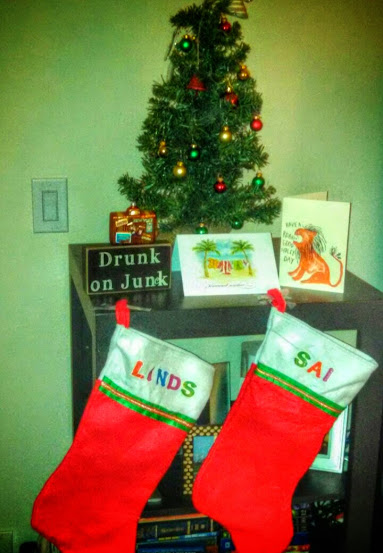stockings and small fake tree