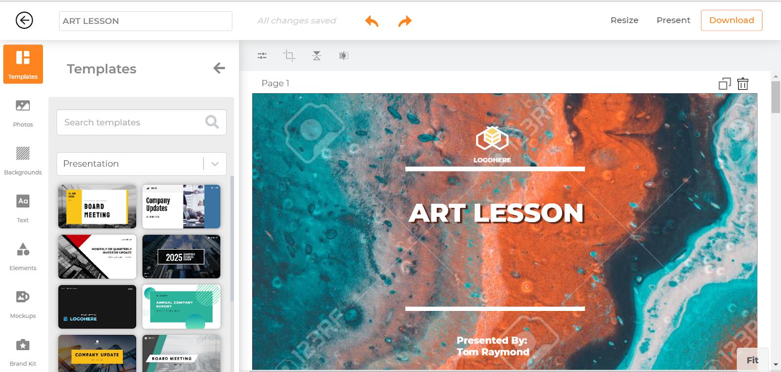 Crea le tue presentazioni con Designmaker di Designs.ai.