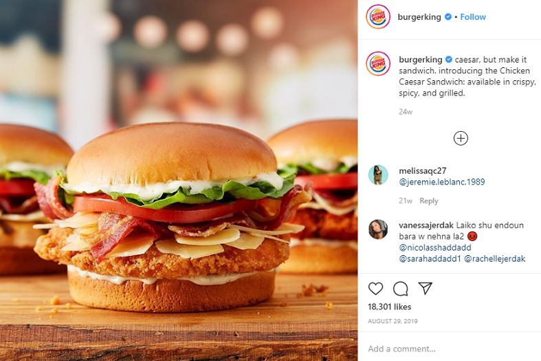 Screenshot of Burger King's Instagram post.