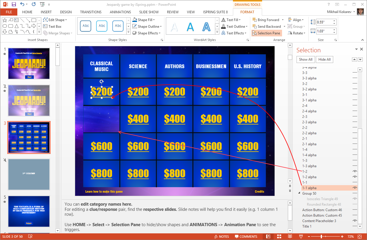 How to Hide Cells in the PowerPoint Jeopardy Game