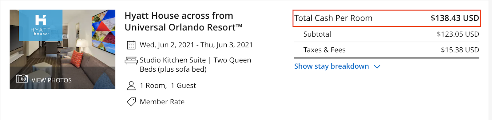 Chase Pay yourself back - Hyatt house across from Universal Orlando Resort