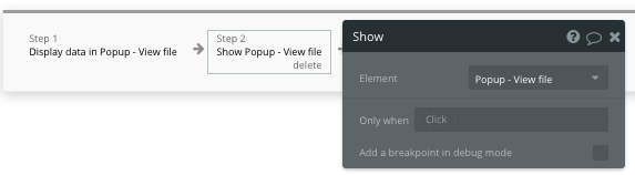 Displaying a no-code popup element