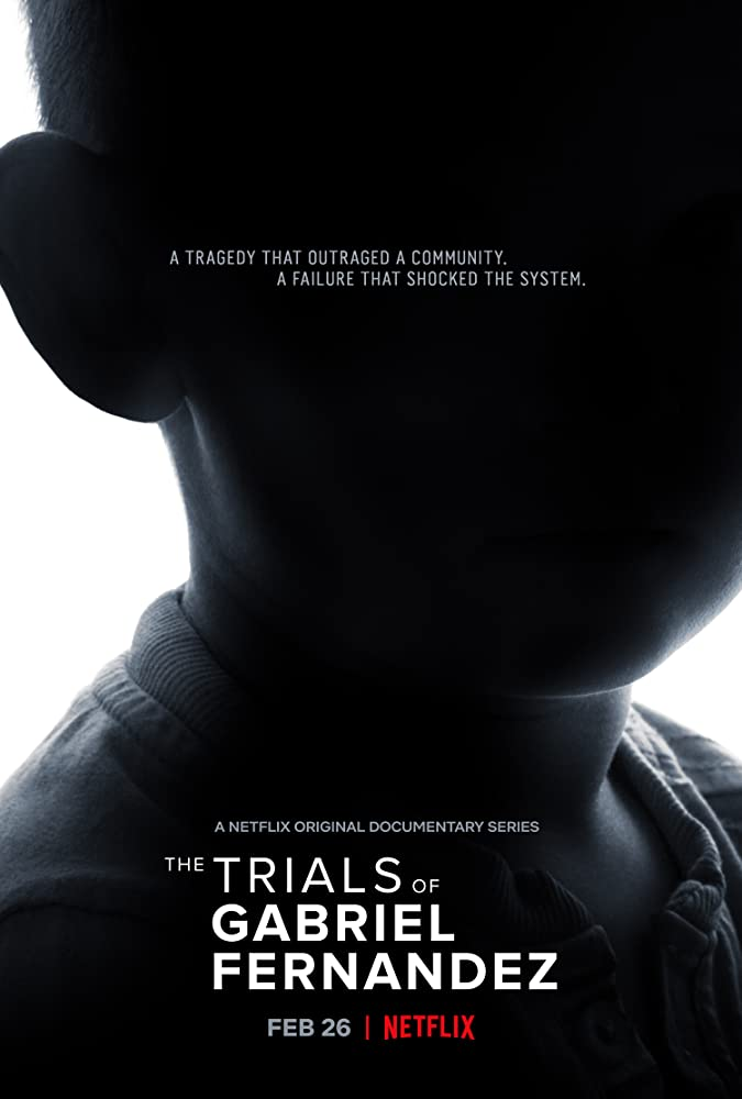 A poster for the documentary The Trials of Gabriel Fernandez is a a photograph showing a darkened silhouette of a boy's head and neck against a white background.