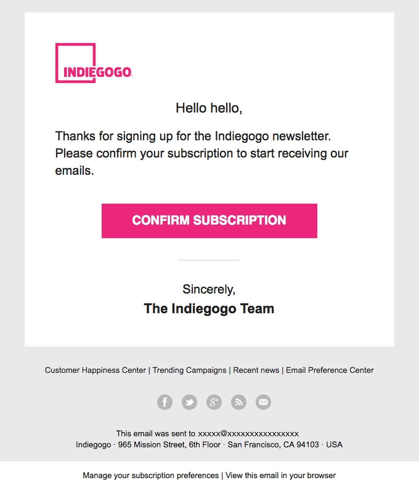 indiegogo newsletter signup