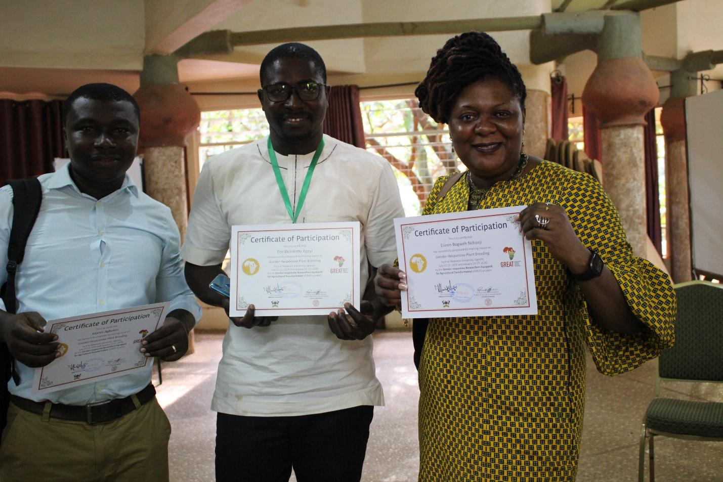 Above: Course participants Richard Yaw Agyare, CSIR Ghana; Eric Agoyi and Eileen Nchangi showing off their GREAT course certificates after completion of the course.