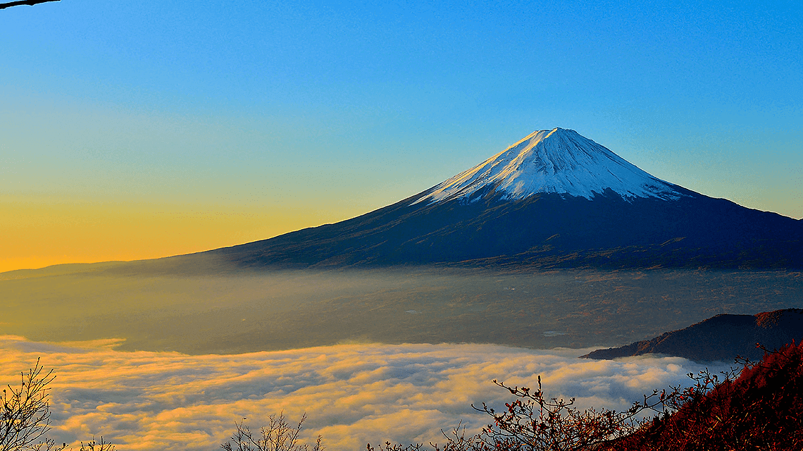 Scenic view of Mount Fuji (Fuji-san), Kitayama, Fujinomiya, Shizuoka, Japan