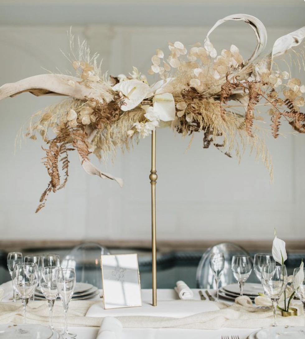 floating lunaria wedding table centerpiece