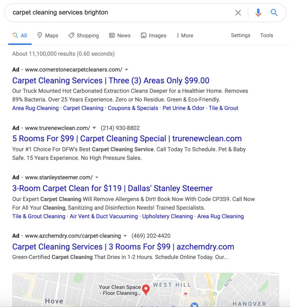 Chiến lược tiếp thị cho các doanh nghiệp nhỏ - Ví dụ này cho thấy cách quảng cáo tìm kiếm có trả tiền trên Google chiếm toàn bộ đầu trang.