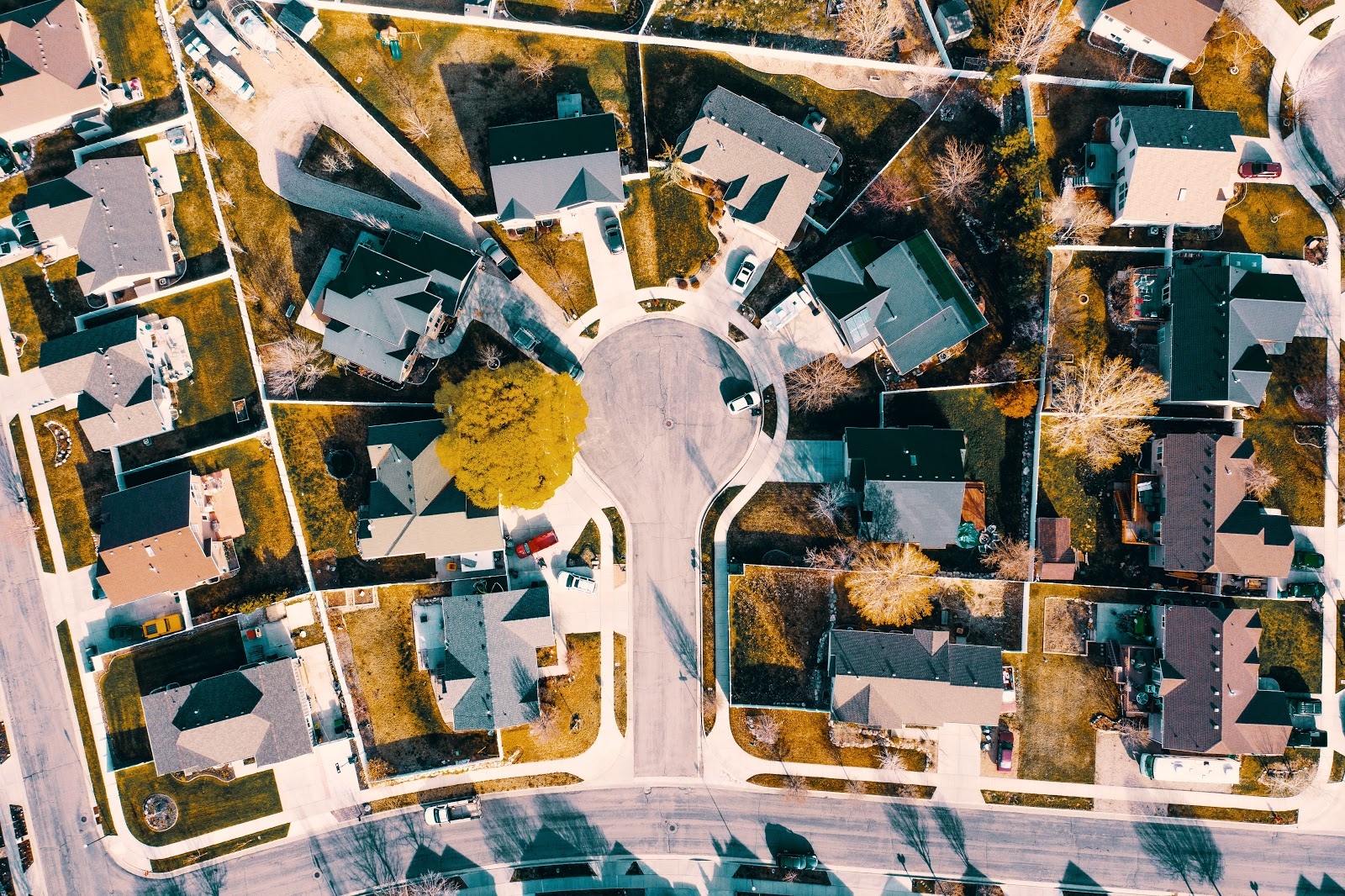 Arial view of a neighborhood