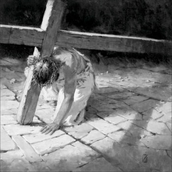 Jesus has fallen under the cross