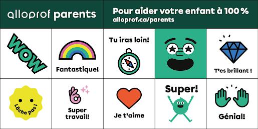 Autocollants Alloprof Parents - Pour les parents d'élèves du primaire - Maximum une feuille d'autocollants par parent d'élève