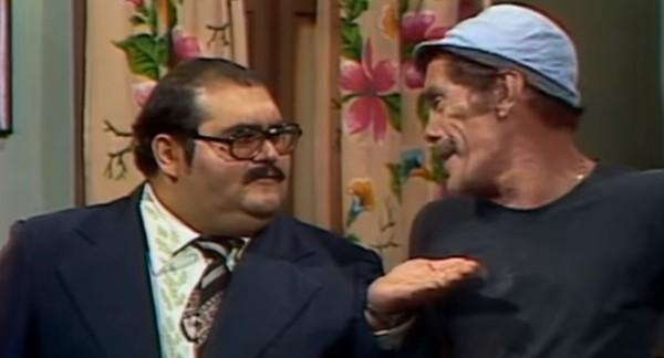 Senhor Barriga cobrando o aluguel de Seu Madruga (Chaves).