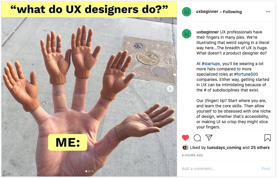 UX Beginner Instagram post of a hand with five finger hands to represent what UX designers do.