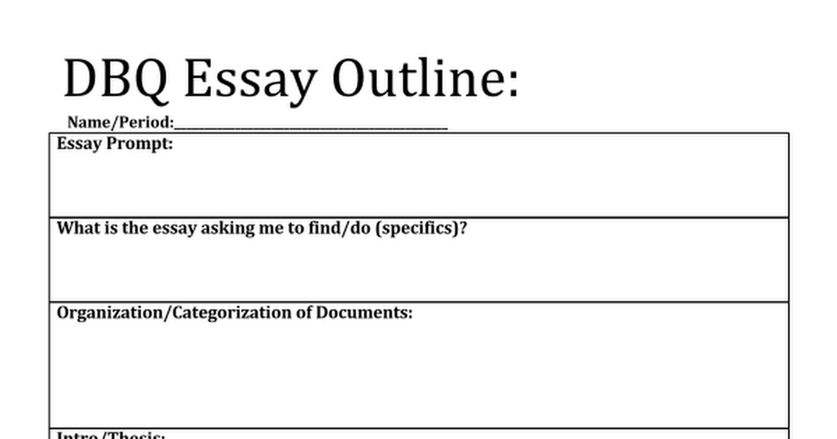 Us history dbq essay outline