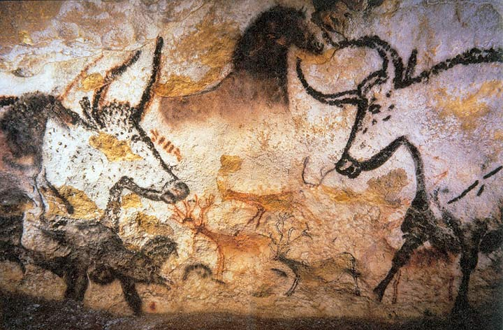 Depiction of the Lascaux cave paintings depicting wild animals.