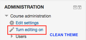 Turn editing on in the administration block in clean theme.