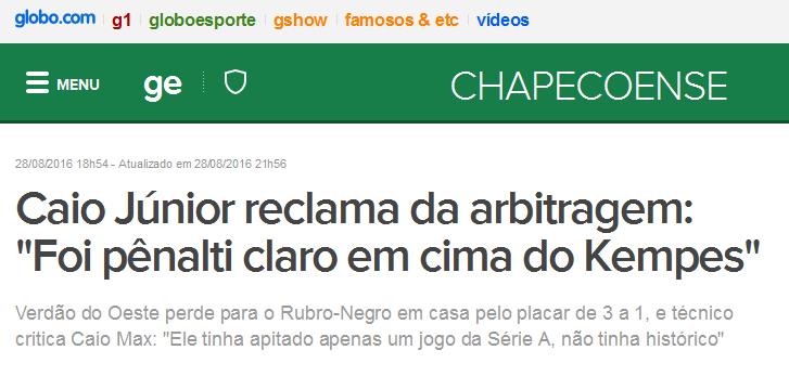 Reclamação contra o juiz na vitória do Flamengo