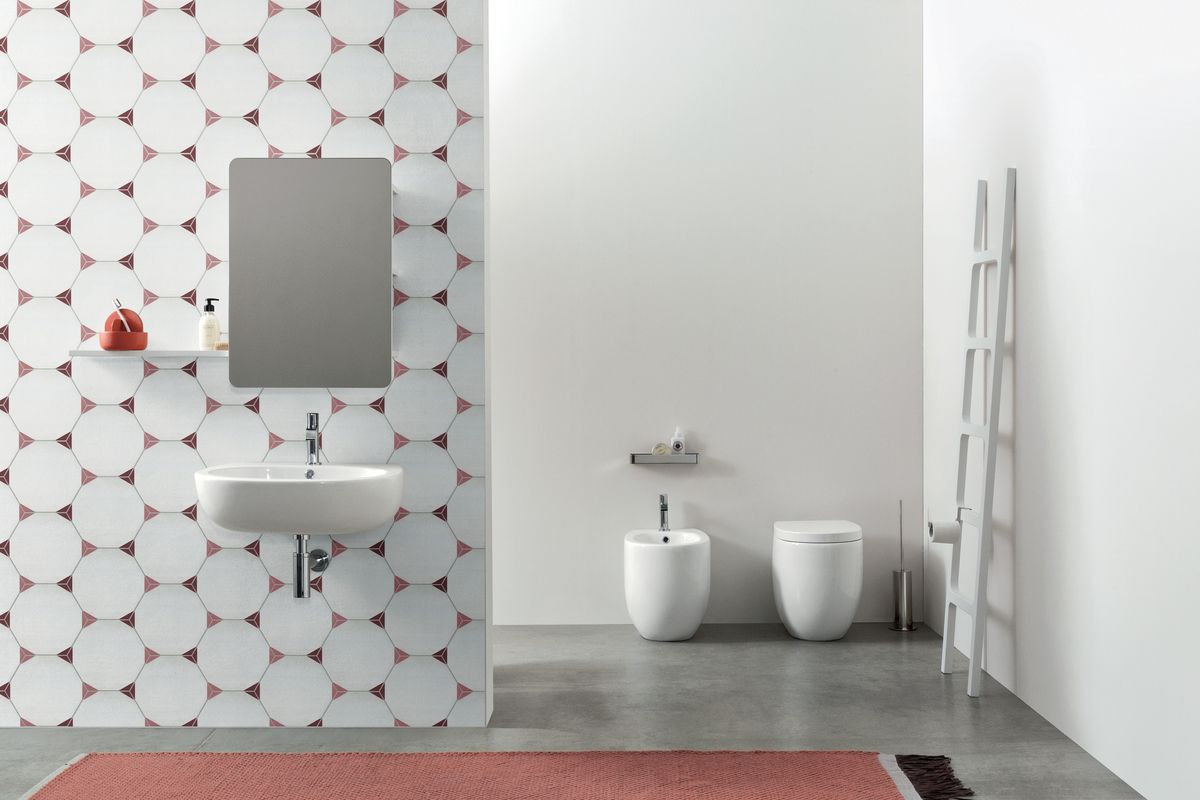 White hexagon tiles with pink and maroon tips
