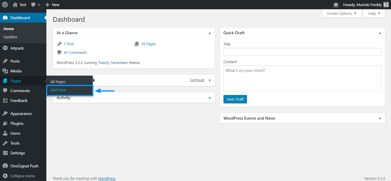Add a new page in wordpress admin