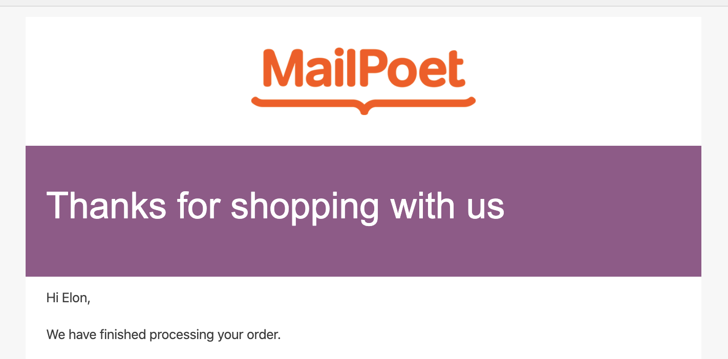 Screenshot of the MailPoet logo in the email template