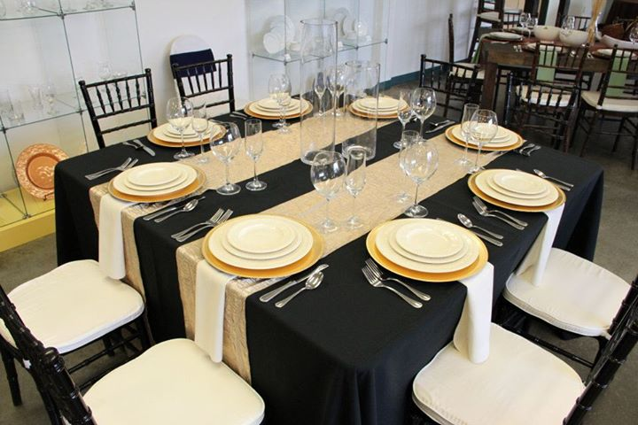 This Look, Uses Our 5ft Square With A Floor Length Black Linen, Champagne  Iridescent Crush Runners, Pearl Napkins, Gold Chargers, Classic Bead  Flatware, ...