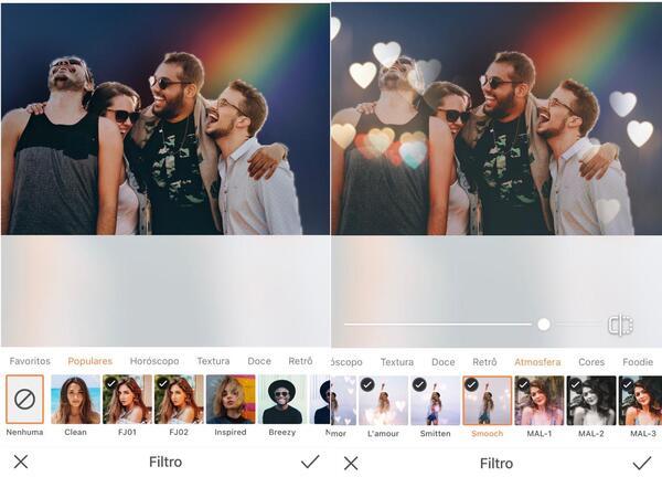 Foto de quatro amigos sendo editados pelo AirBrush, com o Filtro