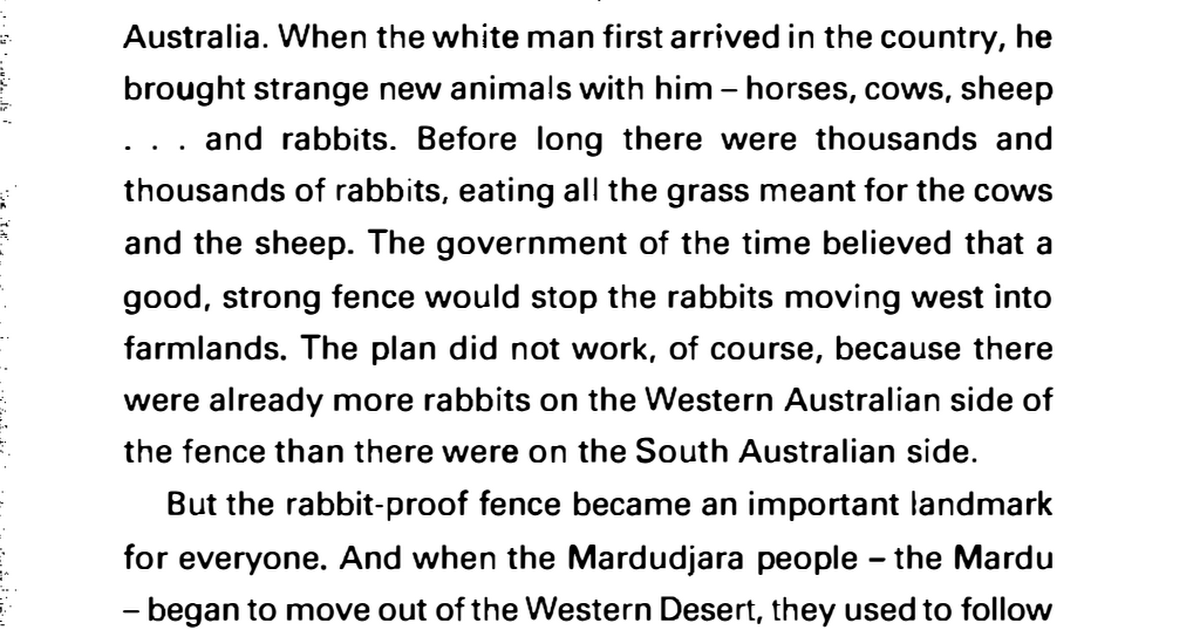 Follow The Rabbit Proof Fence Storypdf