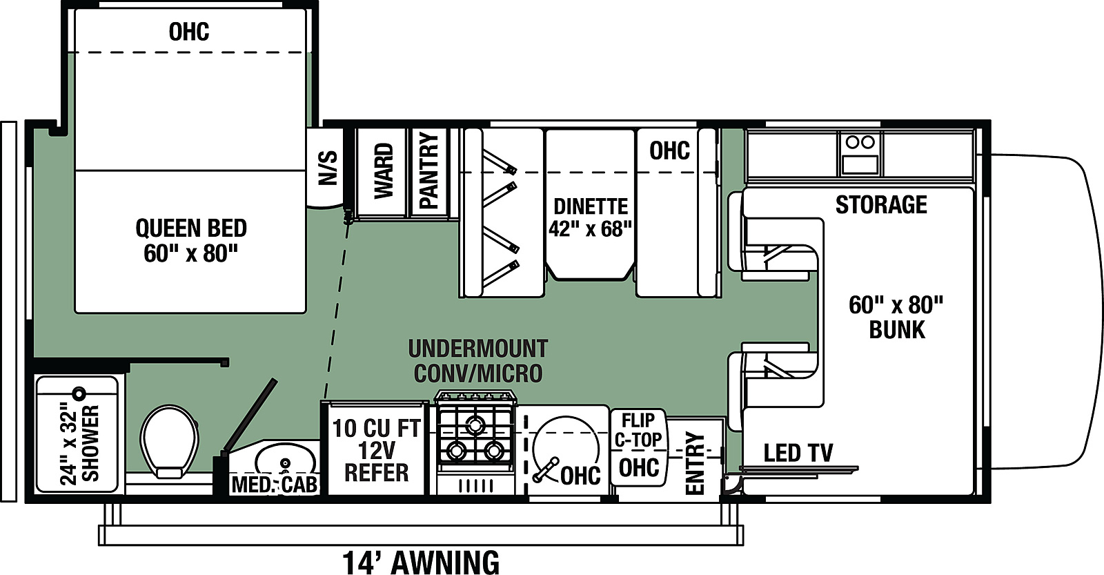 Forest River Forester LE 2251SLE floorplan class c with slideout from forest river