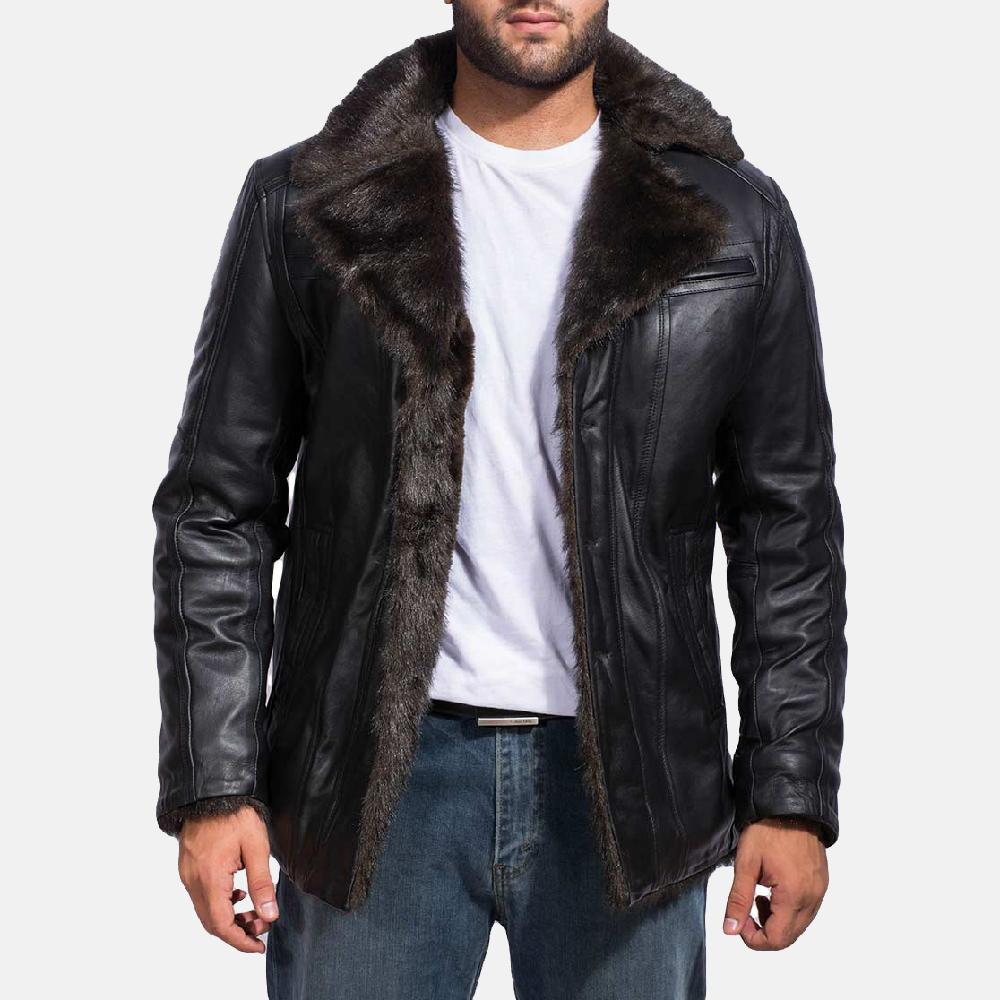 Furcliff Black Leather Jacket Coat