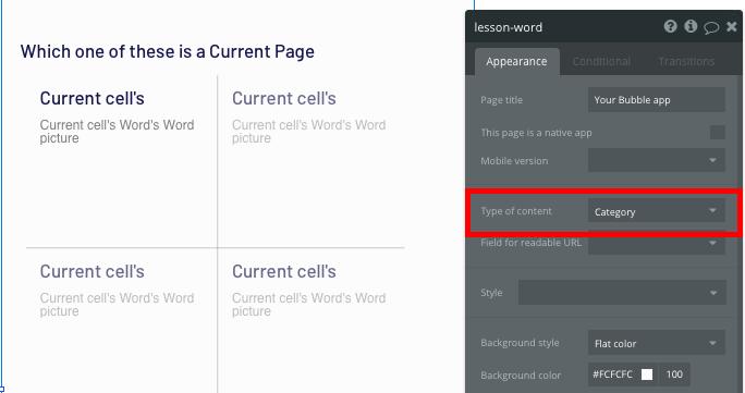 Bubble no code Duolingo clone tutorial category page configurations