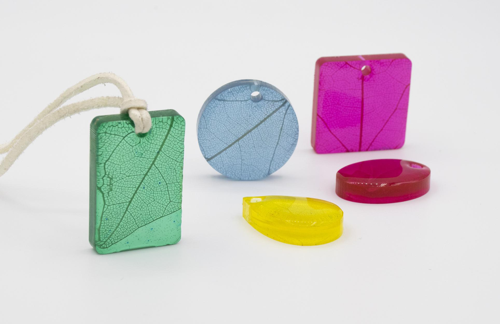 colorful resin pendants