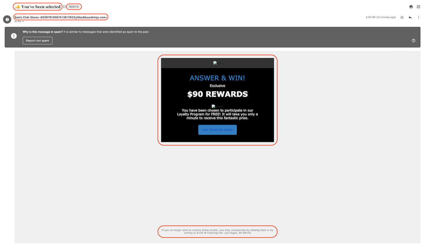 Screenshot of spoofed email.