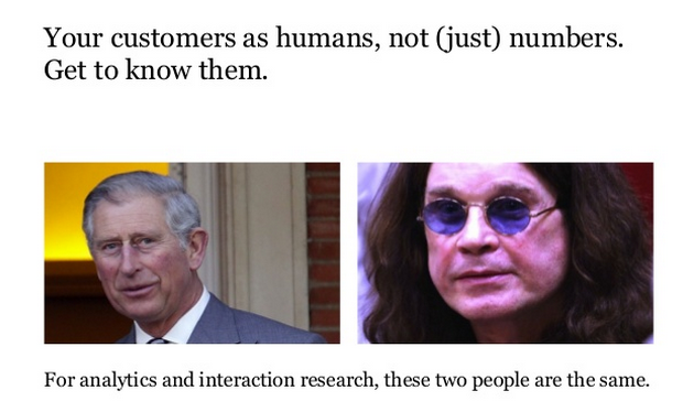 """An image showing two very different people that reads """"for analytics and interaction research, these two people are the same."""""""