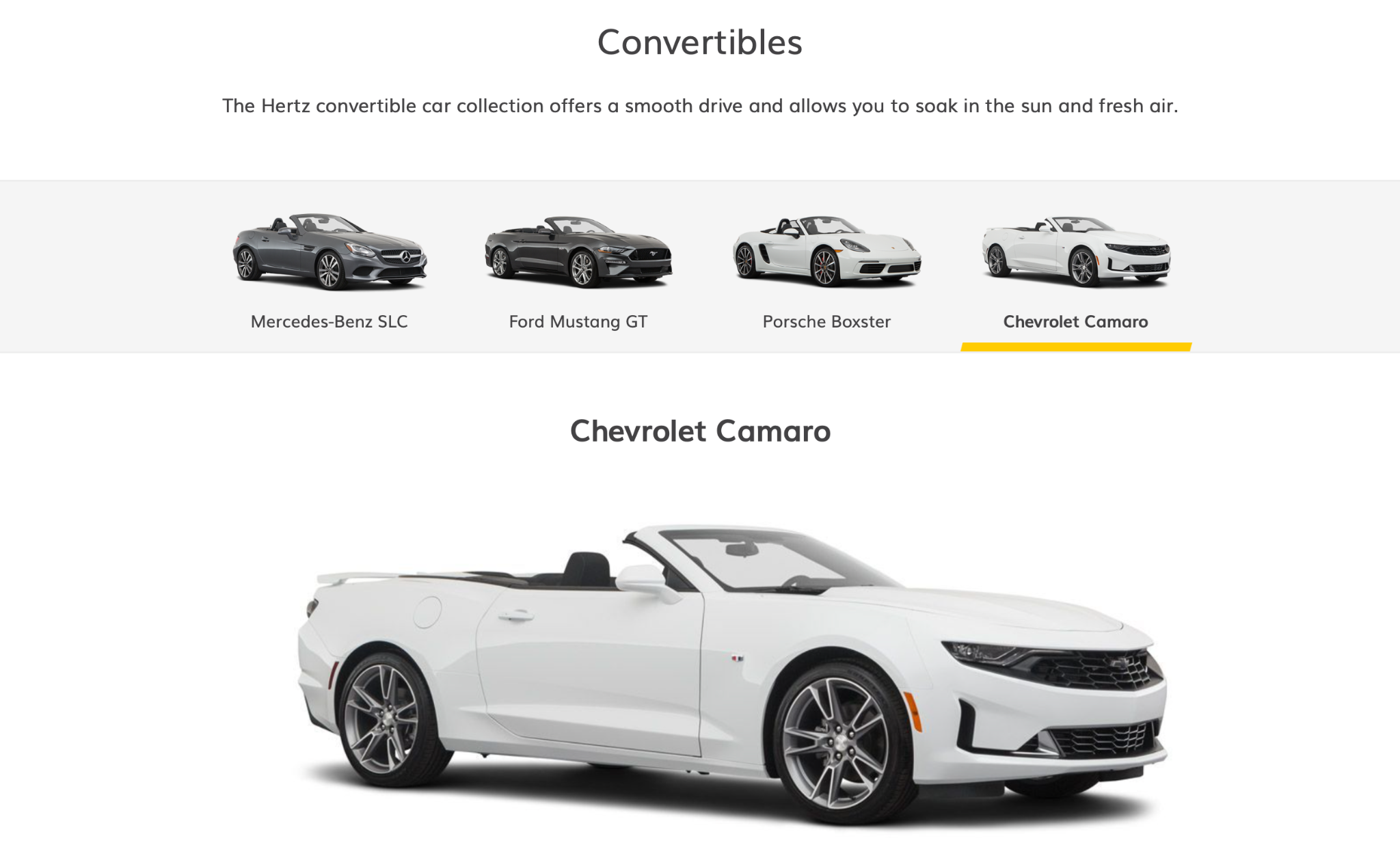 Hertz convertible car