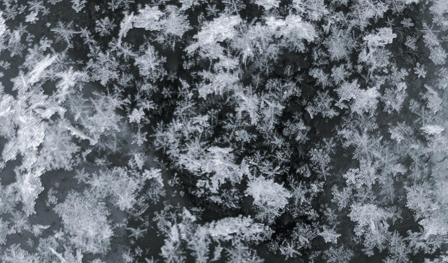 Close up view of snow flakes.
