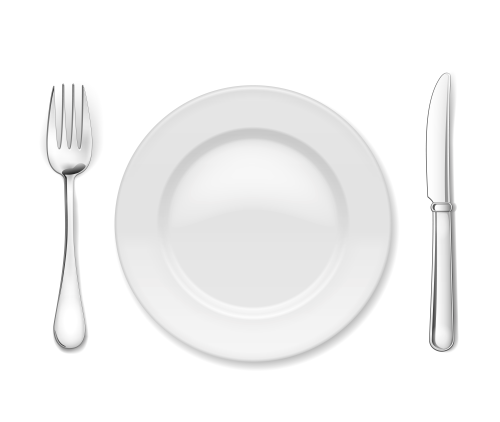 Plate with cutlery: knife and fork, isolated on white. Тарелка, вилка, нож на белом